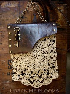 Leather boho bag with vintage crochet lace and antique brass key