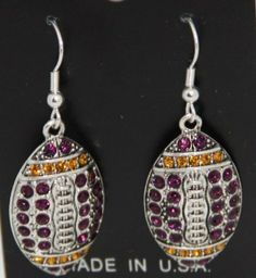 LSU Tigers or NFL Minnesota Vikings or Baltimore Ravens Purple & Gold Rhinestone Football Earrings 1 1/2 inches long & 1 inch wide - Celebrate Minnesota Vikings Football or Louisiana State University Football with Rhinestone Football Jewelry in their Team Colors!!! by From the Heart Enterprises. Save 40 Off!. $14.99. LSU Tigers or Minnesota Vikings or Baltimore Ravens Purple & Gold Rhinestone Football Earrings 1 1/2 inches long & 1 inch wide - Celebrate Minnesota Vikings, Balt...