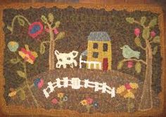 Primitive Rug Hooking Images Google Search Hand Hooked Rugs Folk Art Wool