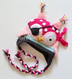 amazon shopping pirate crochet hats boys | Free Shipping Crochet OWL Pirate Hat Baby Boys Cartoon Character Hat ...