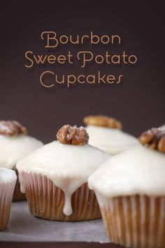 If it's got bourbon in it I'm down! - Bourbon Sweet Potato Cupcakes topped with candied pecans
