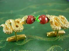 Rare SNAKE Cufflinks WIth APPLE Adam and Eve by NeatstuffAntiques