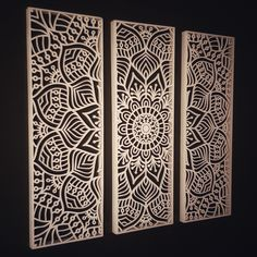 Mandala made from plywood, lasercut and painted white Room Door Design, Gate Design, Metal Sheet Design, Jaali Design, Laser Cut Panels, Room Partition Designs, Metal Artwork, Decorative Panels, Wooden Wall Art