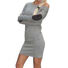 ZXZY Womens Autumn Long Stitching Sleeve Bandage Tshirt Slim Dress -- Check this out by going to the link at the image.