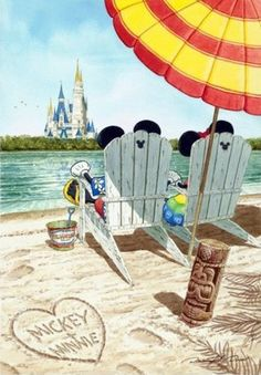 Mickey and Minnie relaxing on the beach near Walt Disney World. Walt Disney, Disney Nerd, Disney Fun, Disney Magic, Disney Mickey, Disney Parks, Disney Movies, Disney Fanatic, Disney Addict