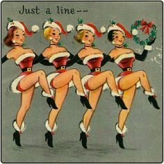 super kitsch vintage dancing girls rockabilly pin up art Vintage Christmas card Vintage Christmas Images, Vintage Holiday, Christmas Pictures, Christmas Artwork, Holiday Images, Merry Christmas, Christmas Greetings, Xmas, Christmas Dance