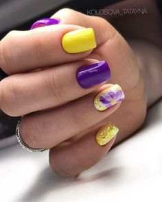 Yellow Nails Design, Purple Nail Designs, Almond Nails Designs, Acrylic Nail Designs, Spring Nail Art, Summer Acrylic Nails, Cute Acrylic Nails, Spring Nails, Lemon Nails