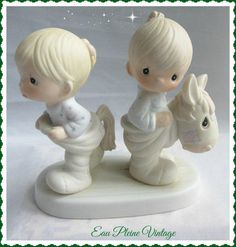 Precious Moments Figurine Enesco Imports Jonathan David 1982 How Can Two Walk Together from Eau Pleine Vintage. Saved to Eau Pleine Vintage Shop On Etsy.