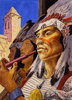 Museum of Nebraska Art | Benton | The Chief and His Pipe