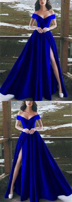Elegant Royal Blue V-neck Off The Shoulder Long Satin Prom Dress 0058 by RosyProm, $128.99 USD