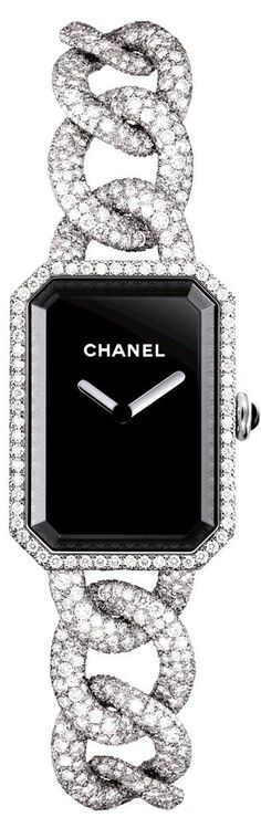 The new Chanel Premiere watch in gold or steel has been redesigned to elegantly slip onto the wrist and is as much as beautiful bracelet as watch. Coco Chanel, Chanel Bags, Chanel Handbags, Designer Handbags, Women's Accessories, Fashion Diva Design, Chanel Watch, Chanel Jewelry, Fashion Jewelry