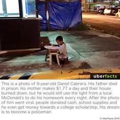 Daniel Cabrera, a little homeless boy photographed studying in the light of a Filipino McDonald's outlet, gets his happy ending. Filipino, Uber Facts, Believe, Touching Stories, Boys Life, Simple Pictures, Under The Lights, Do Homework, Good Energy
