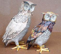 Aude Goalec & Nicole Jacobs are self-taught French artists and sisters who make paper mache sculptures of owls, birds, hens and other animals. Description from myowlbarn.com. I searched for this on bing.com/images