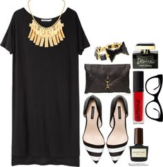 """black, gold, and red 3"" by emilylovescats-913 ❤ liked on Polyvore"