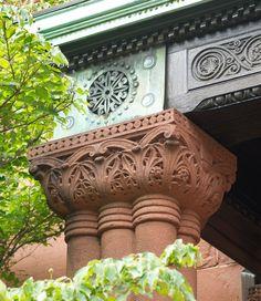 Romanesque Revival clustered columns.
