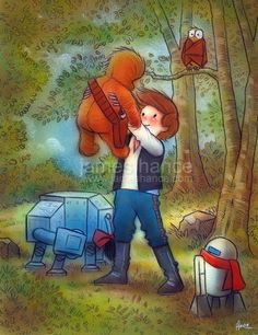 True Star Wars devotees know special fan artwork when they see it. Like this combination of Star Wars and Winnie the Pooh by artist James Hance. Ewok, Chewbacca, Amour Star Wars, Winnie The Pooh, Winnie Poh, Star Wars Disney, Disneysea Tokyo, Christopher Robin, Star War 3