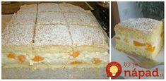 Fantastický dezert z piškótového cesta a tvarohu. Tento koláčik jednoducho nemá chybu!  Potrebujeme:  Na cesto:    4 vajcia    4 lyžice vlažnej vody    150 g práškového cukru    1 bal. vanilkového cukru    90 g polohrubej múky    90 g solamylu    Kypriaci prášok do pečiva    Náplň:    230 g broskýň, mandariniek alebo