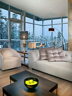 living room; modern contemporary furniture; room with a view