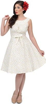 7d4259d5e7 White Cherries Jubilee 1950s Style Amanda Swing Dress Vestido Del  Oscilación De 1950