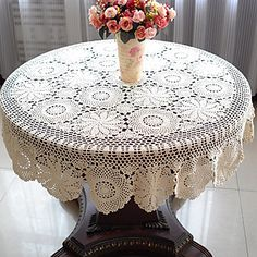 51 Inch Crochet Round  Tablecloth – USD $ 34.99