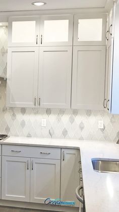 White Teardrop Backsplash Tile White Teardrop Backsplash Tile <br> Indulge in Chandelier Carrara Teardrop Glass Mosaic Tile. This unique teardrop white glass tile is an excellent option for kitchen and bathroom backsplashes. Backsplash For White Cabinets, Glass Tile Backsplash, Installing Backsplash Tile, Backsplash Ideas For Kitchen, Fireplace Backsplash, Decorative Tile Backsplash, Dark Cabinets, Home Design, Design Ideas