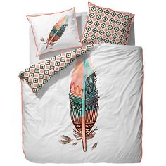 Love this feather bedspread! Duvet Sets, Duvet Cover Sets, Aztec Decor, Luxury Duvet Covers, Bed Linen Design, Style Deco, Decoration Inspiration, Cozy Place, Dream Bedroom