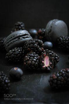 Blackberry macarons. by simondugast IFTTT 500px 2/52 background beautiful berries black blackberry blueberry closeup culinaire d7200 d