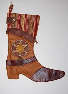 Western Cowboy Boot Christmas Stocking