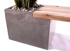 Concrete / Wood Planter Bench by TaoConcrete on Etsy, $1000.00 - A little high on the price, but a good idea!