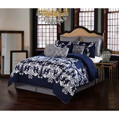 Navy 10-Piece Comforter Set | Overstock.com Shopping - The Best Deals on Comforter Sets