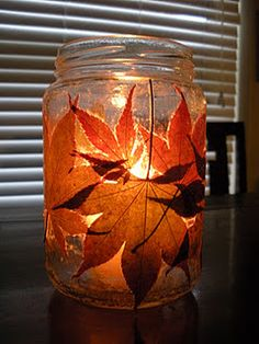 Fall Candle Holder- i totally want to do this for centerpieces at my wedding!