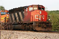 (SD40-2W).  Canadian National #5321.    GMD SD40-2W(W) is a Canadian-market version of the SD40-2 diesel-electric locomotive. (W for the 4-Window Safety Cab)