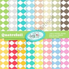 Quatrefoil digital papers from Lilmade Designs on TeachersNotebook.com (16 pages)  - Set of commercial use digital papers featuring trendy quatrefoil patterns in assorted  colors.
