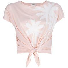 SHINE 'Blondie' T-Shirt ($73) ❤ liked on Polyvore featuring tops, t-shirts, shirts, blusas, palm tree t shirt, knotted t shirt, crop t shirt, pink short sleeve shirt and polish t shirts