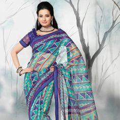 Sky Blue Super Net Saree With Blouse