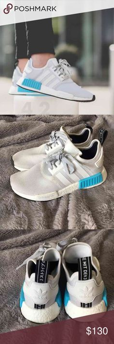 Adidas nmd bright cyan Authentic adidas NMD R1 J reflective shoes in white/bright cyan. Size 6 unisex but fit like a women's 7.5/8. Gently worn, some small signs of wear. These are no longer sold, so this is a good deal. Adidas Shoes Athletic Shoes