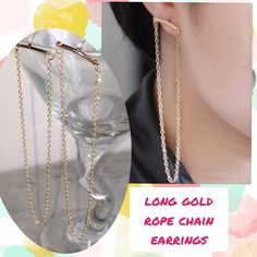 "Modern trendy Long gold chain earrings Dainty yet noticeable, a minimalistic gold bar with attached gold chain looping underneath and hang approx 3"" below ear Jewelry Earrings"