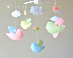 Baby Crib Mobile - Custom Baby Mobile - Bird Mobile - Birds Mobile - Baby Girl Mobile - Molly Bedding