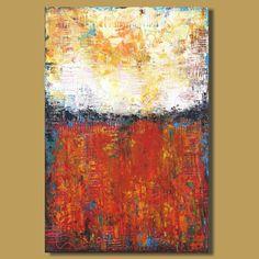 pintura abstracta, pintura de paisaje abstracto, pintura pradera, pintura campo, el arte moderno de color rojo y amarillo (24x36)