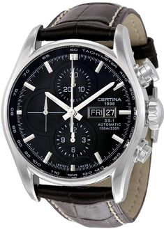 Certina DS 1 Chronograph Automatic Men's Watch C0064141605100 Mens Watches Leather, Leather Men, Brown Leather, Sport Watches, Watches For Men, 3 O Clock, Stainless Steel Case, Quartz Watch, Chronograph