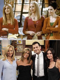 "JEN, COURTENEY & LISA You can thank Jimmy Kimmel for reuniting the ladies of Friends – Aniston, Cox and Kudrow – for a tongue-in-cheek sketch that aired on his Aug. 27, 2014, show. Kimmel played Ross, and just happened to have the women say such things as, ""Hey Ross, everyone down at Central Perk is talking about how good you are at making love."""