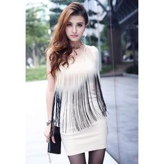 Sexy One Shoulder Ombre Fringe Splice Slimming Long Sleeve Milk Silk Women's Club Dress, APRICOT, ONE SIZE in Club Dresses | DressLily.com