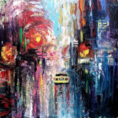 Abstract painting original oil city by SagittariusGallery on Etsy, $500.00