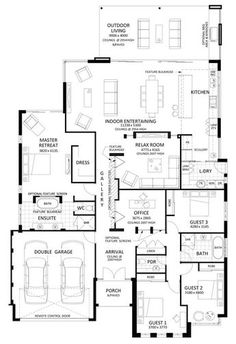 Floor Plan Friday: Excellent 4 bedroom, bifolds with integrated entertaining space Home Design Floor Plans, Kitchen Floor Plans, Dream Home Design, Plan Design, House Design, Duplex Design, New House Plans, Dream House Plans, Modern House Plans