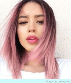 Rose pastel hair with pink lips and shimmery eyeshadow