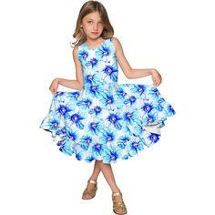 Aurora Vizcaya Fit & Flare Cute Blue Party Dress - Girls