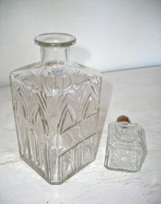 vintage decanter  pressed glass  home bar by shesitsbytheseashore
