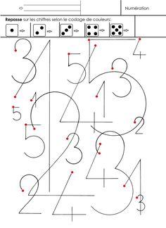 Identifier les chiffres de toutes tailles dans un méli-mélo, repasser dessus en respectant un codage de couleurs placées par l'adulte après chaque flèche. Le rond rouge indique où commencer l'écriture des chiffres. - écriture 1 à 5.docx - écriture 1...