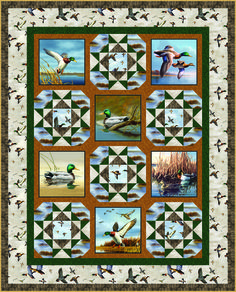 "Free Quilt Pattern using our Duck Lake fabric collection, designed by the Hautman Brothers. This quilt pattern was designed by Heidi Pridemore of The Whimsical Workshop. Finished size is 50"" X 62"" Get more free quilt patterns at our website! http://quiltingtreasures.com/projects/index.asp"