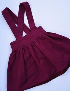 Gorgeous Maroon / Burgundy Suspender Skirt / by GardenOfEadie Baby Girl Dress Patterns, Little Girl Dresses, Baby Dress, Girls Dresses, Toddler Skirt, Skirt Fashion, Fashion Outfits, Fashion Shorts, Skirts For Kids